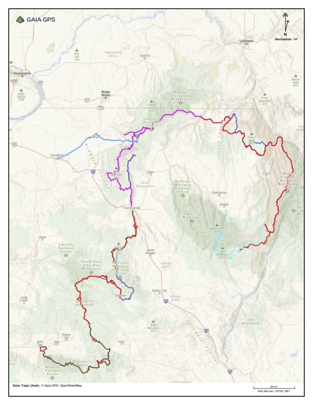 Map of the Blue Mountain Trail in NE Oregon