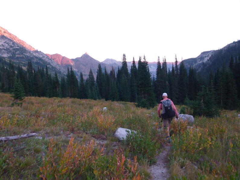 alpine valley at dusk